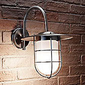 Auraglow Stainless Steel Outdoor Vintage Fishermans Wall Lamp with LED Light Bulb (Cool White)