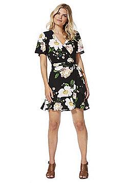 F&F Garden Floral Print Wrap Tea Dress - Black multi