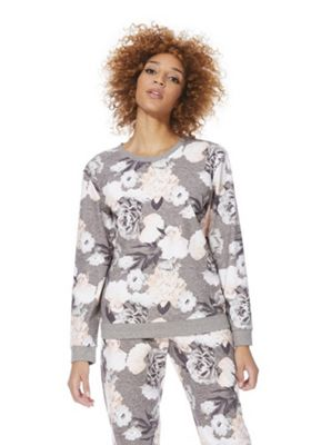 F&F Supersoft Floral Flannel Lounge Top 12-14 Grey