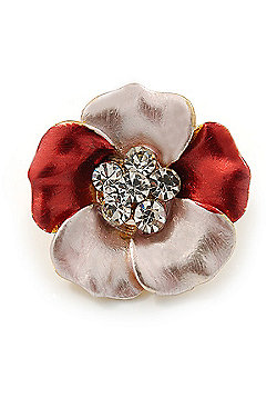 Small Coral/ Pink Enamel, Crystal Daisy Pin Brooch In Gold Tone - 20mm
