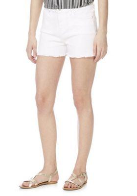 F&F Frayed Hem Mid Rise Denim Shorts White 14