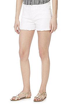 F&F Frayed Hem Mid Rise Denim Shorts - White