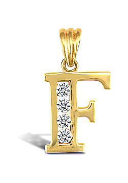 Jewelco London 9ct Gold CZ Initial ID Personal Pendant, Letter F - 1.6g