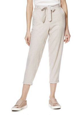 F&F Linen-Blend Tapered Leg Trousers Oatmeal 8