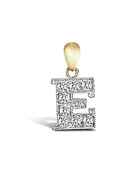 9ct Yellow Gold Cubic Zirconia Initial Charm Identity Pendant - Letter E