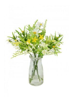 Artificial - Daisy & Blossom Bundle in Milk Bottle - Cream
