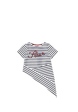 F&F Fleur Slogan Striped Asymmetric Hem T-Shirt - Multi