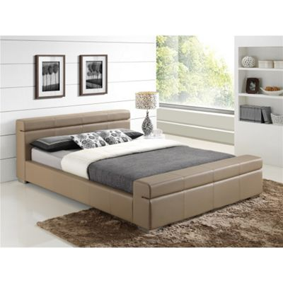 Stone Cubed Sleigh Style Faux Leather Bed Frame - Double 4ft 6