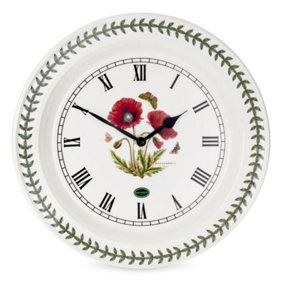 Portmeirion Botanic Ceramic Garden Poppy Wall Clock 25cm