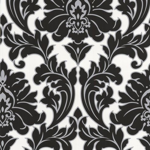 Superfresco Easy Paste the Wall Majestic Damask Black / White Wallpaper