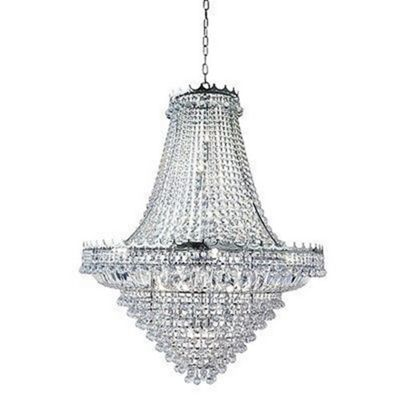 Stylish 19 Light Clear Crystal Chandelier, Chrome Finish Frame