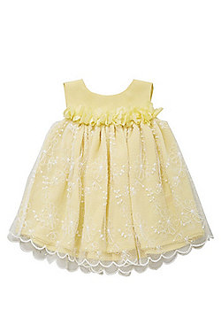 F&F Floral Applique Occasion Dress - Lemon yellow