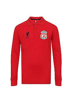 Liverpool FC Boys Long Sleeve Polo Shirt - Red