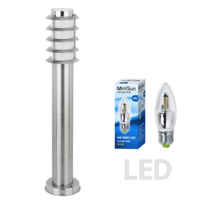 Wharf IP44 Outdoor 45cm LED Bollard S/S with a Frosted Candle Bulb