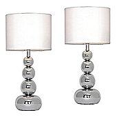 Pair of Marissa Chrome Touch Table Lamps & Whites