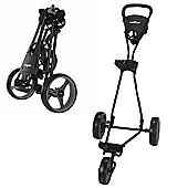 Caddymatic Golf Continental 3 Wheel Folding Golf Push/Pull Trolley Black