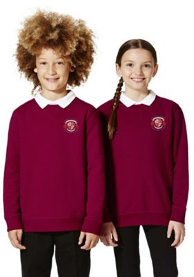 Unisex Embroidered School Sweatshirt with As New Technology 9-10 years Claret