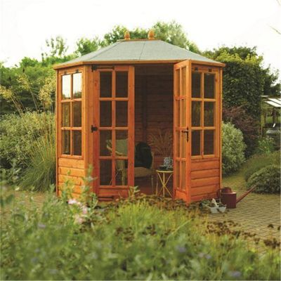 Ryton 8 x 6 Octagonal Summerhouse Wooden Summerhouse (12mm T&G Floor & Roof) (8ft x 6ft)