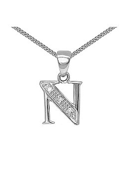 Jewelco London 9 Carat White Gold Elegant Diamond-Set Pendant on an 18 inch Pendant Chain Necklace - Inital N