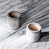 Set of Two Concrete LED Votive Tea Light Candles