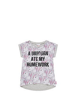 Emoji Unicorn Two-Way Sequin T-Shirt - Grey Multi
