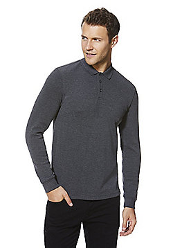 F&F Popcorn Texture Long Sleeve Polo Shirt - Grey
