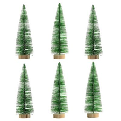6 x 18cm Green Plastic Bottle Brush Bristle Christmas Tree Ornaments