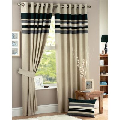 Curtina Harvard Charcoal Eyelet Lined Curtains - 46x54 inches (117x137cm)