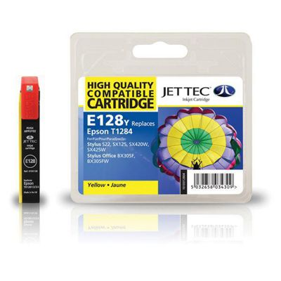 Epson T1284 Yellow Compatible Ink Cartridge by JetTec - E128Y