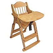 Safetots Folding Wooden High Chair Natural Wood