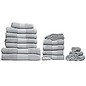 Luxury 100% Cotton 20 Piece Face Hand Bathroom Jumbo Towel Bale Set - Silver