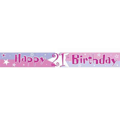 Amscan 12ft Shimmer 21st Birthday Banner Pink