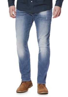 F&F Faded Slim Leg Jeans Blue 34 Waist 34 Leg