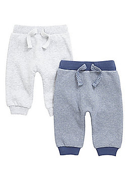F&F 2 Pack of Grindle Stripe and Marl Joggers - Blue & Grey