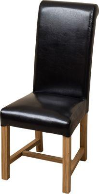 x8 Washington Braced Frame Black Leather Dining Chairs