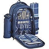 VonShef 2 Person Picnic Backpack Rucksack Bag - Navy Tartan