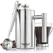 VonShef 3 Cup Stainless Steel Cafetiere with Spoon