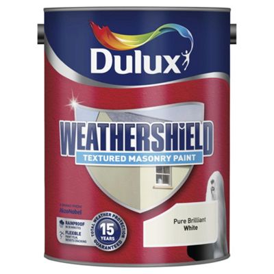 Dulux Weathershield Textured Masonry Paint, Pure Brilliant White, 5L