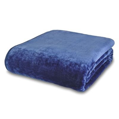 Catherine Lansfield Home Plain Raschel Navy Throw - Medium
