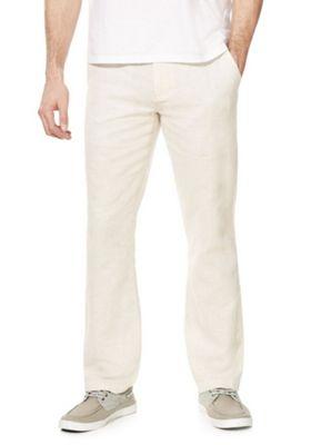F&F Linen-Blend Straight Leg Chinos Neutral 34 Waist 32 Leg