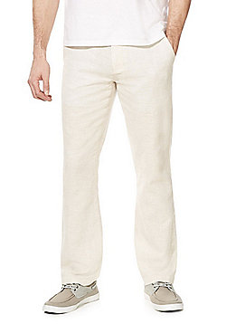 F&F Linen-Blend Straight Leg Chinos - Neutral