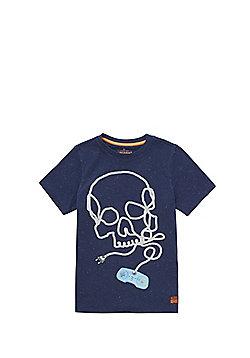 F&F Skull Print Neppy T-Shirt - Blue