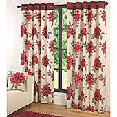 Fusion Isabel Eyelet Lined Red Curtains - 90x90