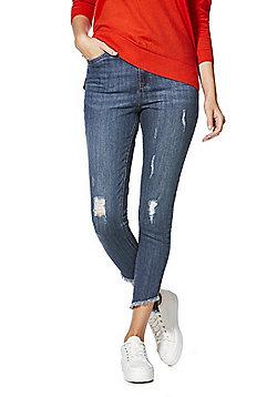 F&F Distressed Asymmetric Hem Mid Rise Skinny Jeans - Mid wash