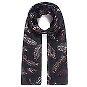 Black Feather Print Scarf