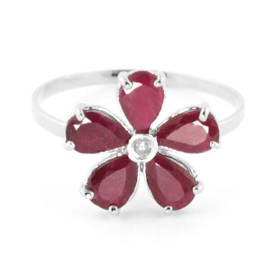 QP Jewellers Diamond & Ruby Foliole Ring in 14K White Gold - Size K