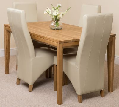 Bevel Solid Oak 150 cm Dining Table with 4 Ivory Lola Leather Chairs