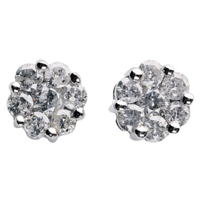 9ct White Gold 1/4ct Diamond Invisible Set Earrings