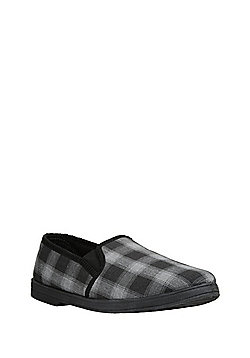 """F&F Checked Closed Back Slippers with Thinsulate""""™ - Black"""