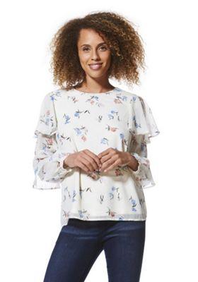 Vero Moda Floral Print Ruffle Sleeve Top Cream Multi XS